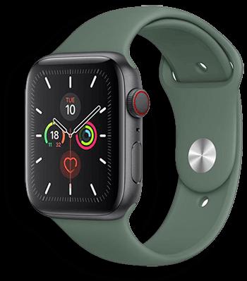 Apple Watch Szilikon Szíj sötét fenyő zöld színben 38mm 40mm 42mm 44mm méretű apple watch okosórához. Bujtatós Szilikon Szíj S/M M/L méretben